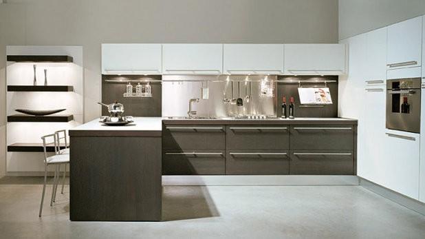 Muebles de cocina en maderas oscuras casa y color for Cocina color gris y madera