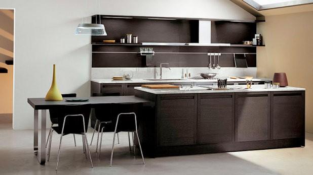 Muebles de cocina en maderas oscuras casa y color for Cocinas italianas modernas