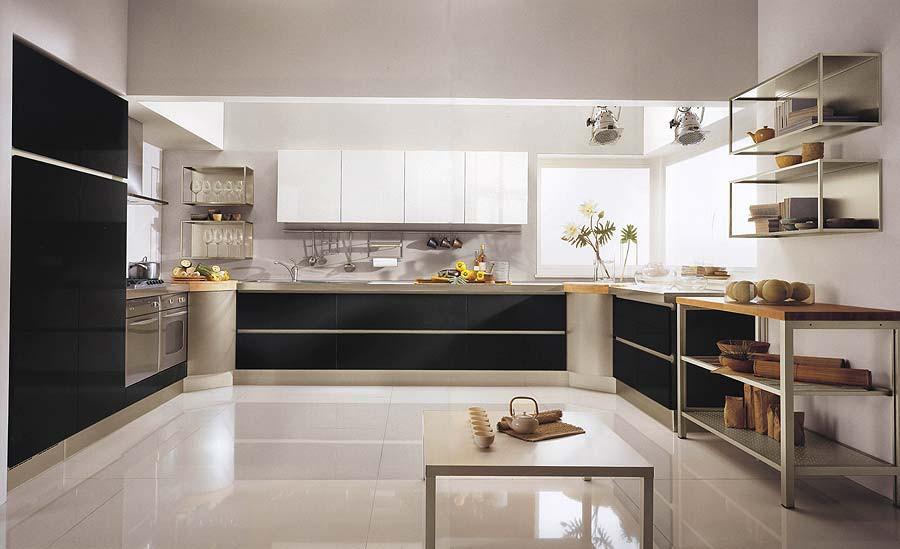 Dise os de cocinas modernas en blanco y negro casa y color for Cocina con electrodomesticos de color negro