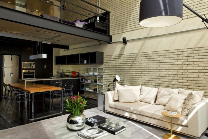 Loft con pared de ladrillo a la vista