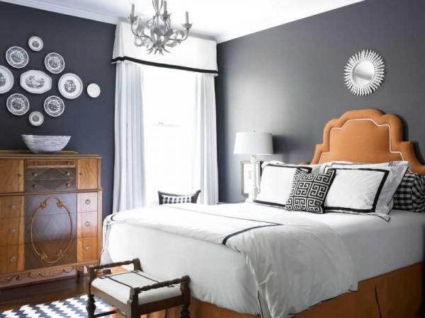 Dormitorio gris oscuro