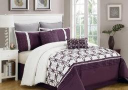 Decoración del dormitorio en gris y ciruela