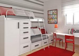 Compartiendo la habitación, diseños de camas dobles y triples