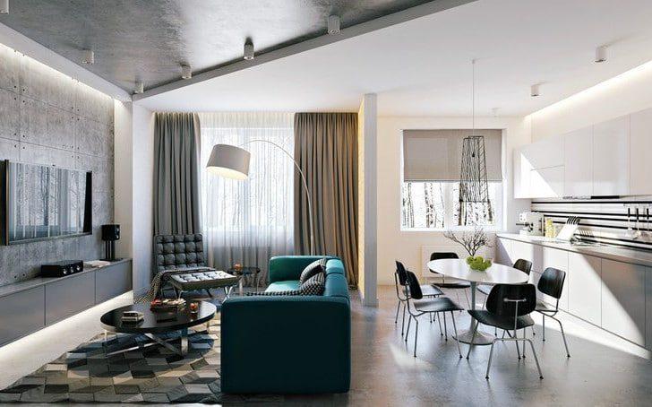 Cocina y sala loft