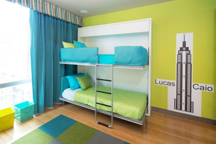 Dormitorio verde y azul