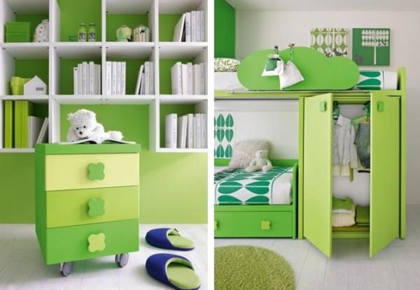 Cuarto verde y blanco