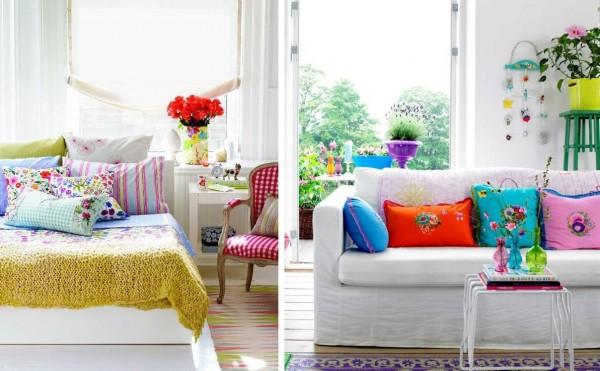 Decora con almohadones de colores casa y color - Cojines de colores ...