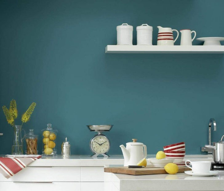 Cocina pared color teal