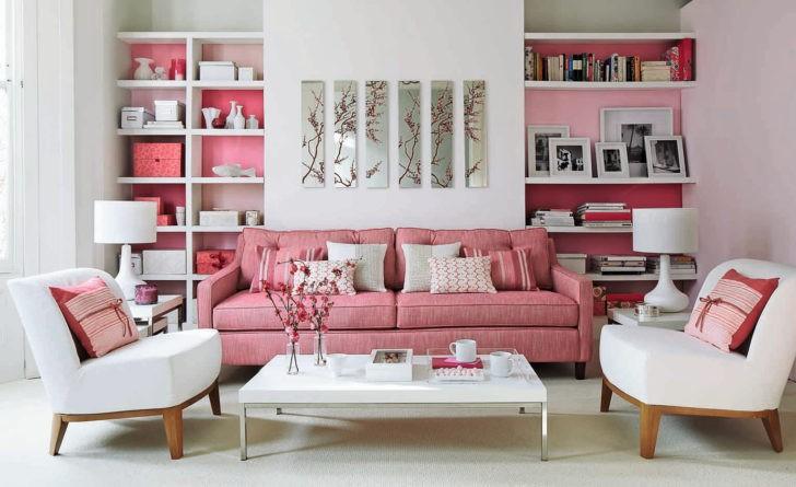 Living rosado y blanco