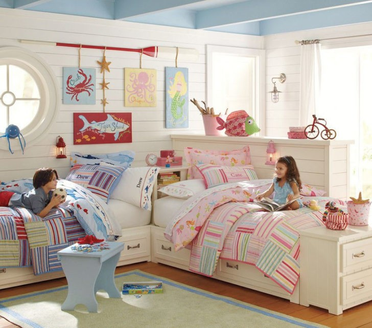 Cuarto de niños rosa y azul