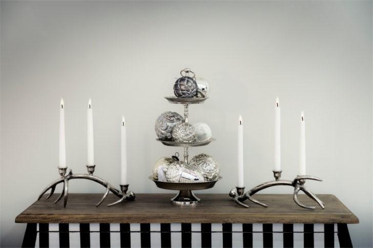 Decoracion navideña blanco y negro