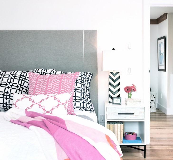 Dormitorio blanco cabecero gris