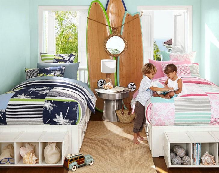 Dormitorio niños pared azul suave