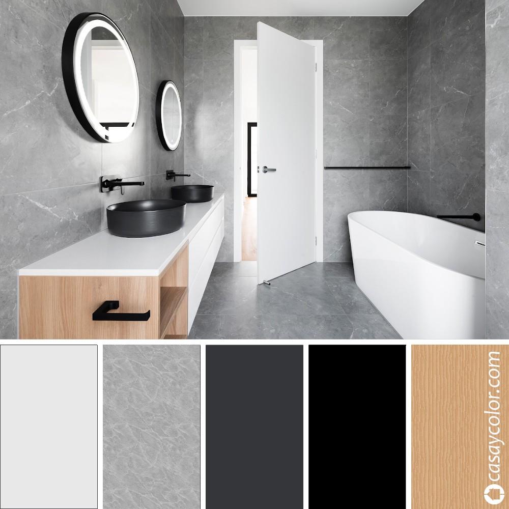 Baño moderno gris luminoso