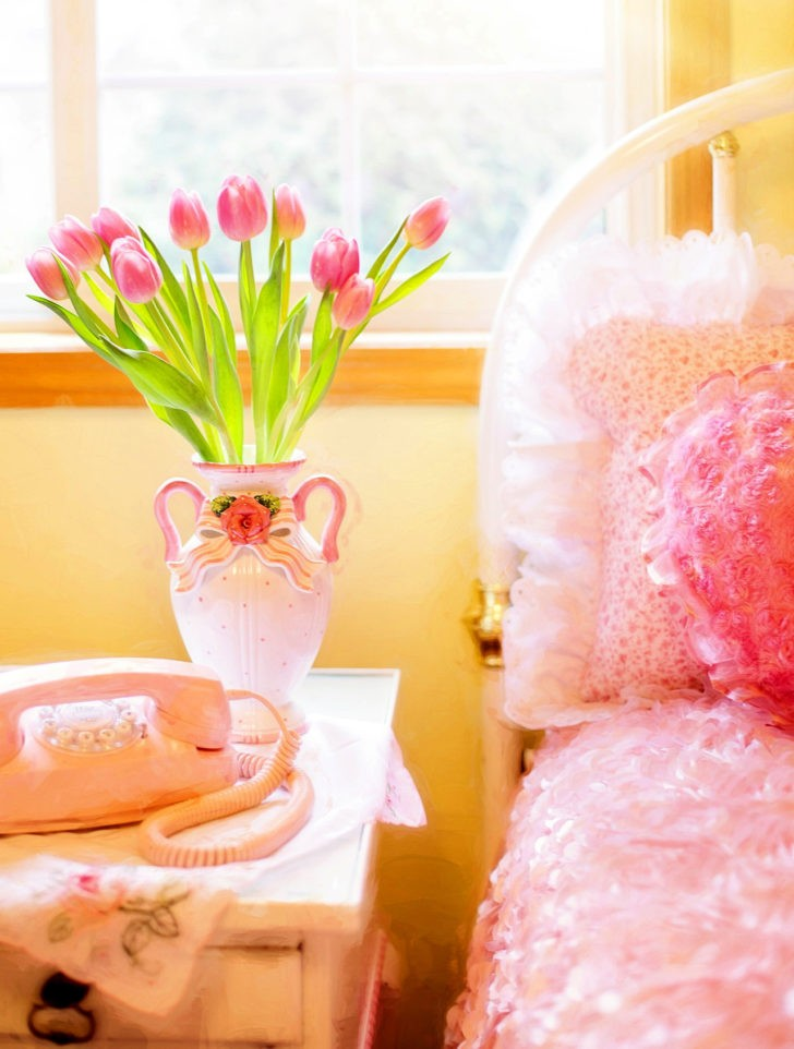 Flores tulipanes rosados