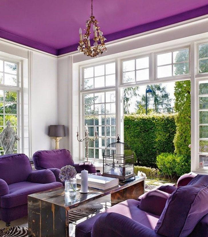 Techo pintura de color violeta