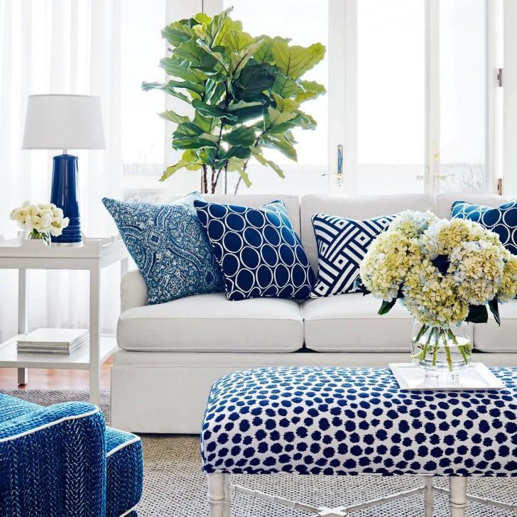 Sofá cojines azules