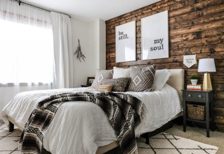 Rustic wooden and white bedroom