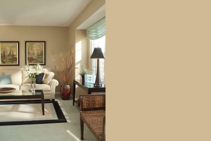 Living room walls in beige tones