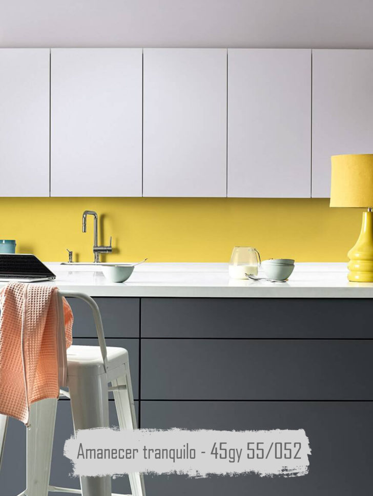 Yellow and gray Quiet Dawn kitchen