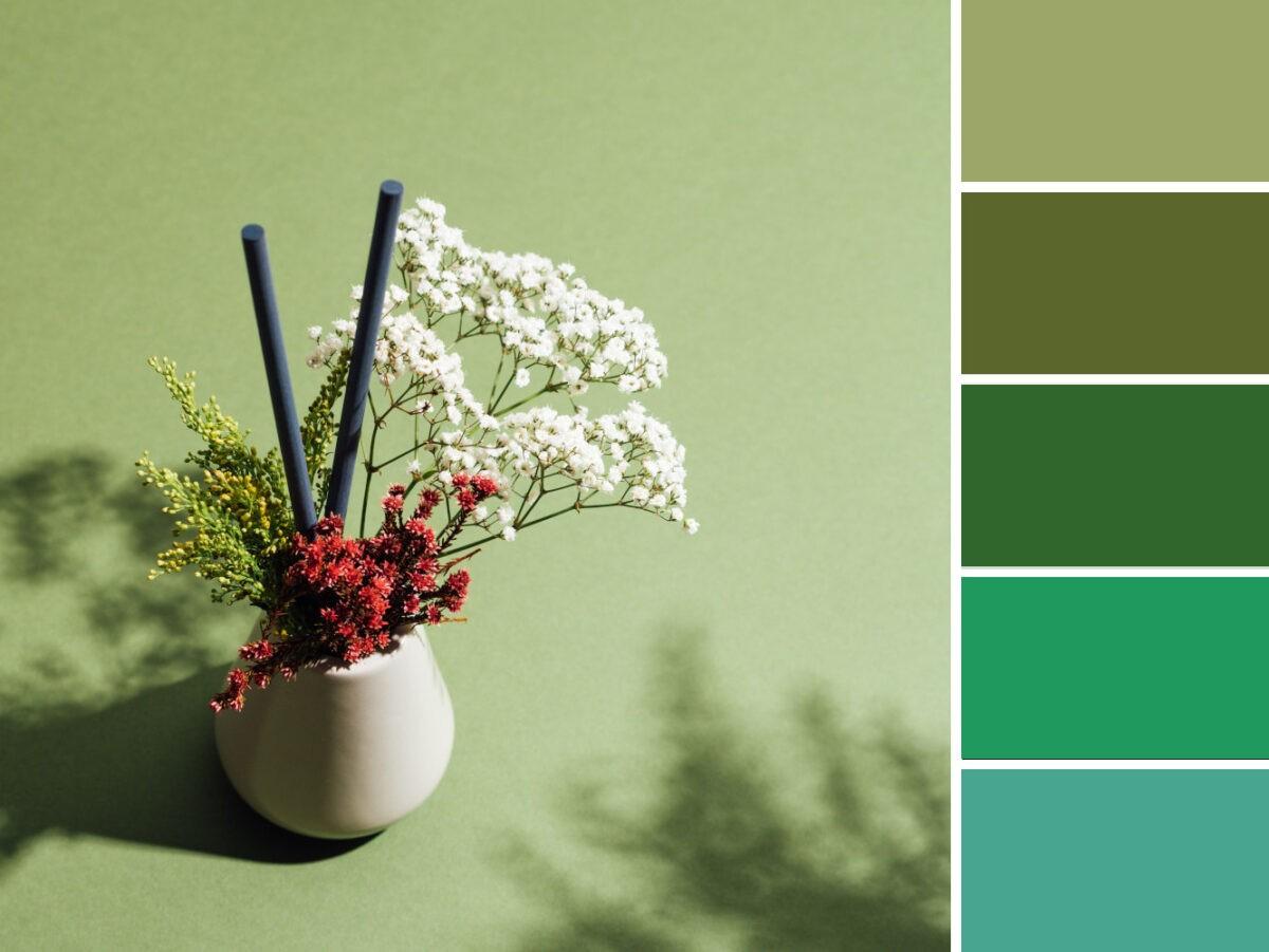 Gama de colores verdes